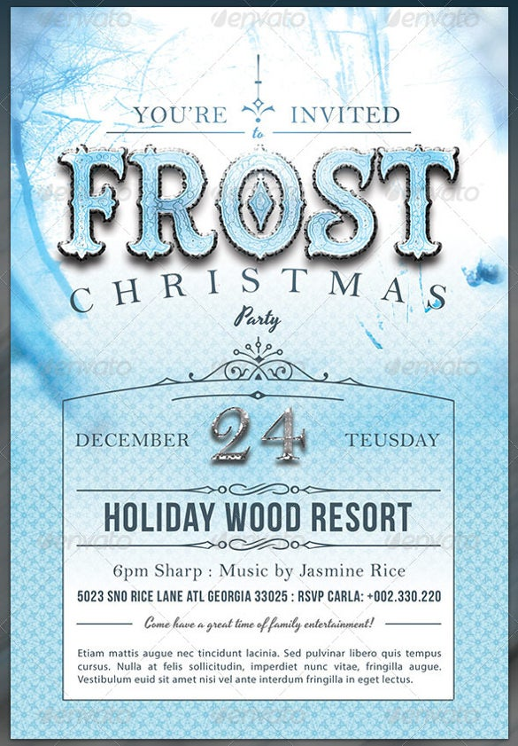 frost christmas party invite template card