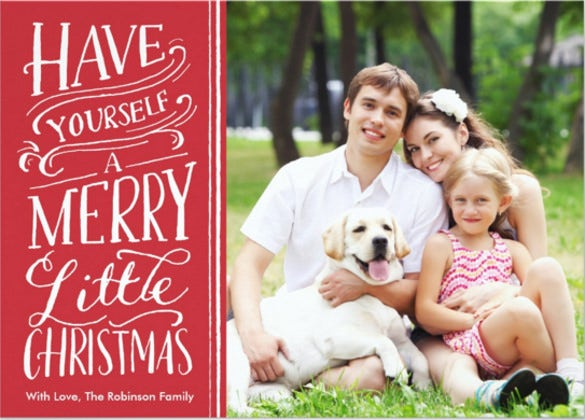christmas red calligraphy 1 photo invitation card