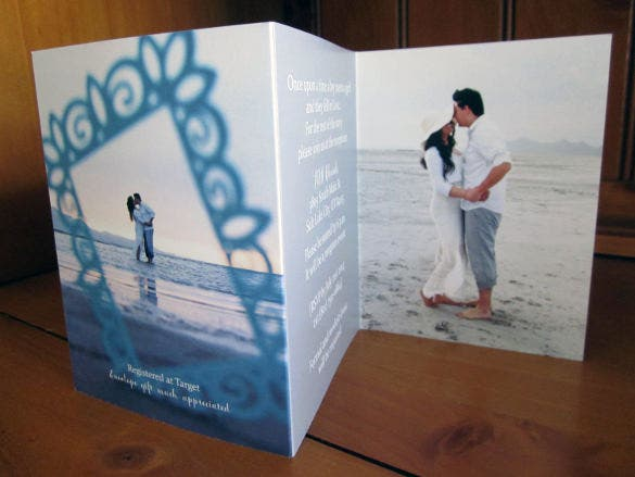 modern tri fold wedding invitation suite
