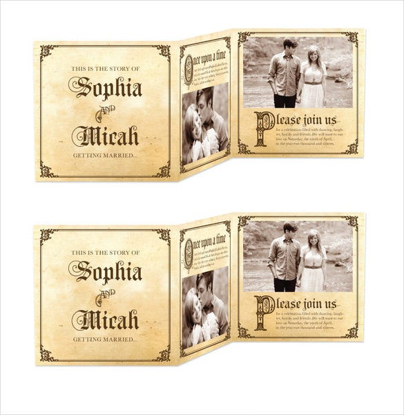 long overdue tri fold wedding invitation suite