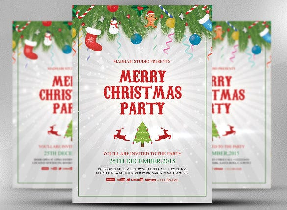 Merry Christmas Party Template Christmas Invitation Card U2013  Flyer Invitation Templates Free