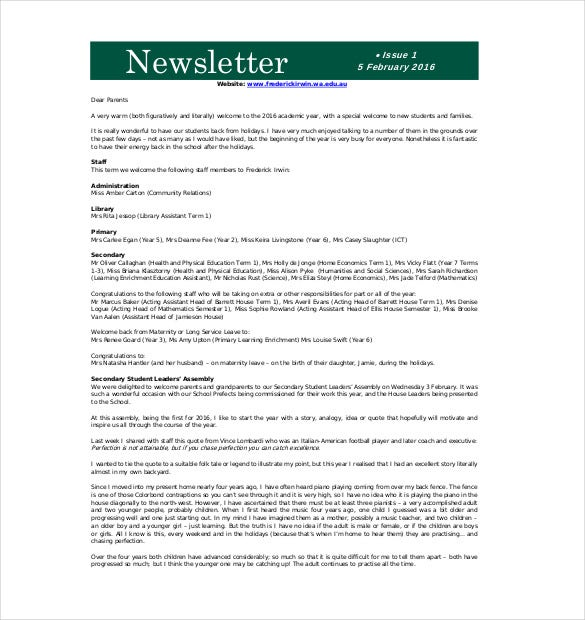 frederickirwinwaeduau primary newsletter template has a very catchy design with green header to add important details about the school and a very