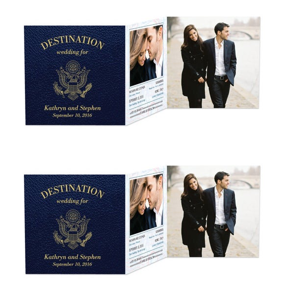 passionate passport wedding invitation