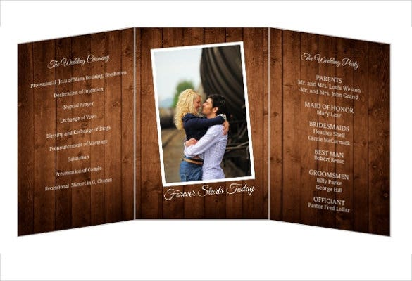 brown tri fold wedding invitation psd format