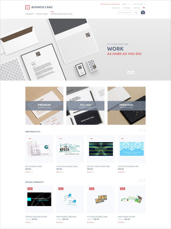 carporate business card printing magento template