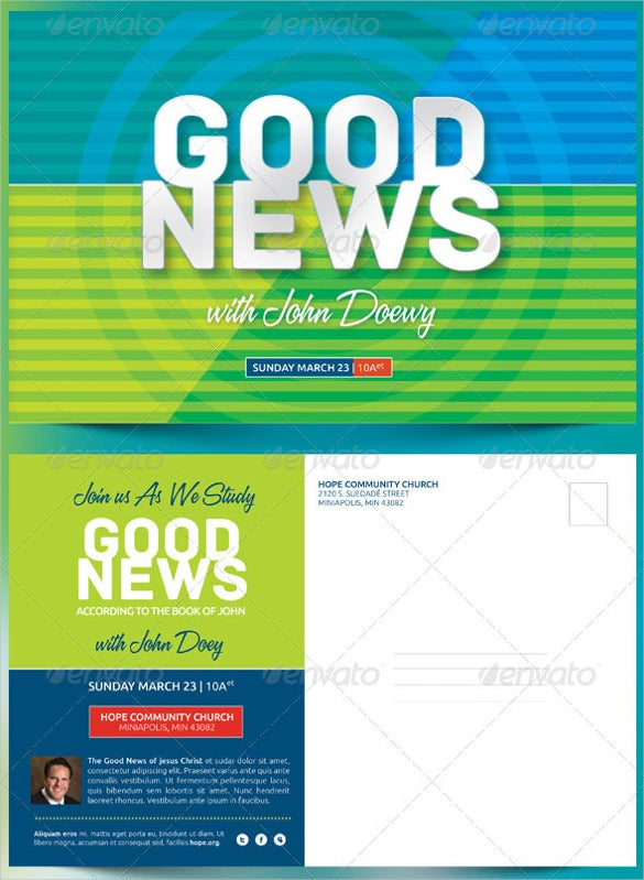 good news church postcard in psd