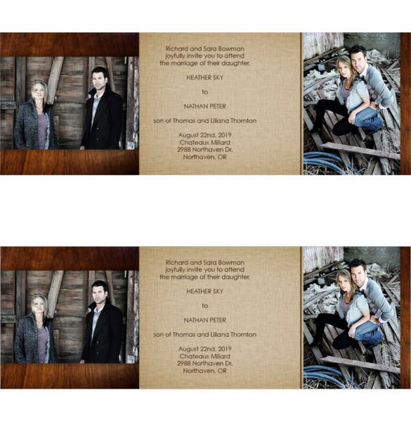 photo tri fold wedding invitation
