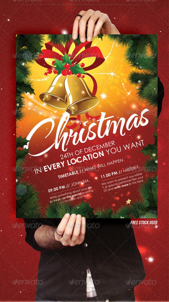 christmas ii flyer template card invitation - Free Christmas Party Invitation Templates