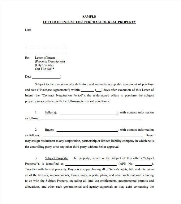 Simple Letter Of Intent To Purchase Property Sample Free PDF
