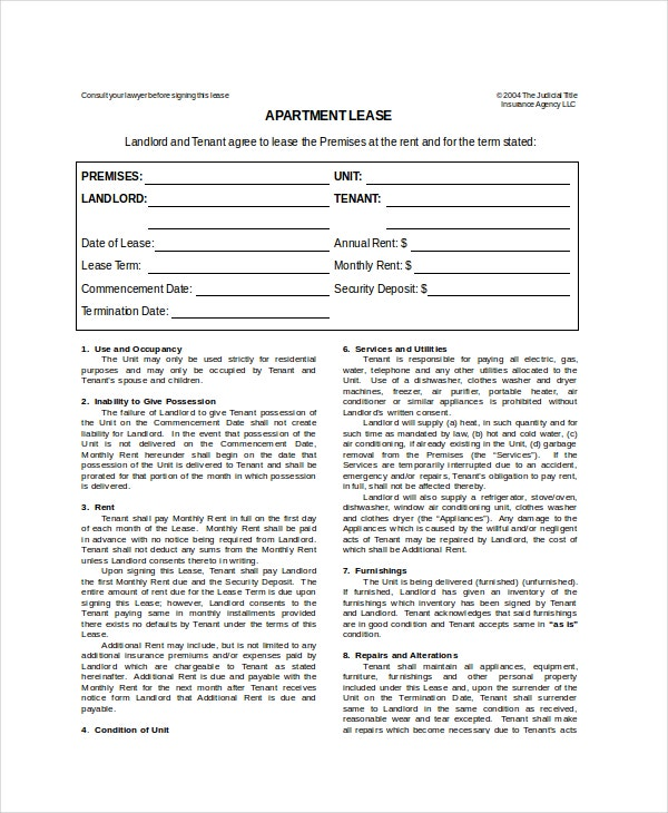 Apartment Lease Template 7 Free Word PDF Documents Download – Apartment Lease Agreements
