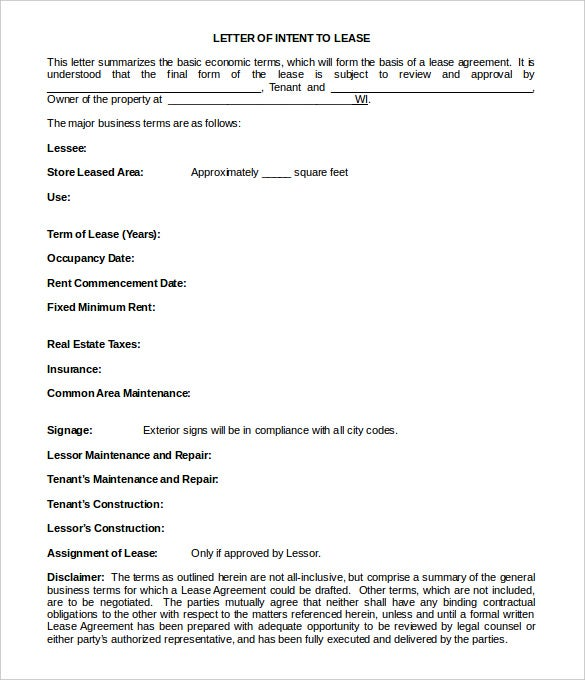 simple blank letter of intent to lease template sample download