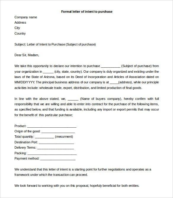 formal letter of intent to purchase template free word download
