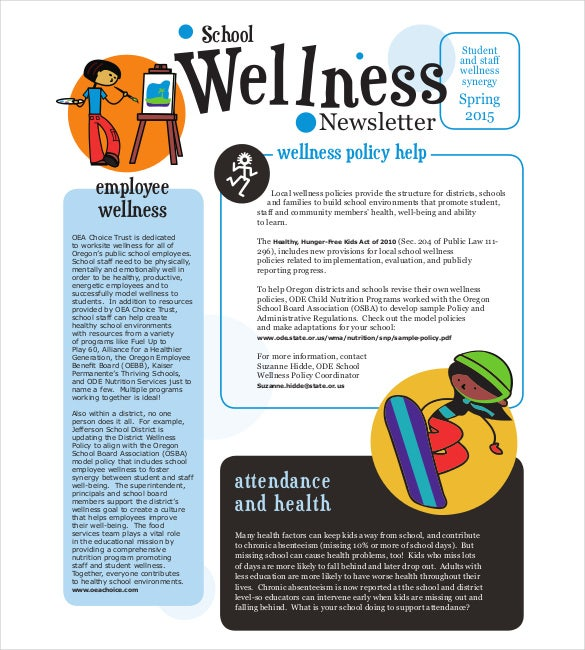 health and wellness newsletter template - 7 school newsletter templates free sample example