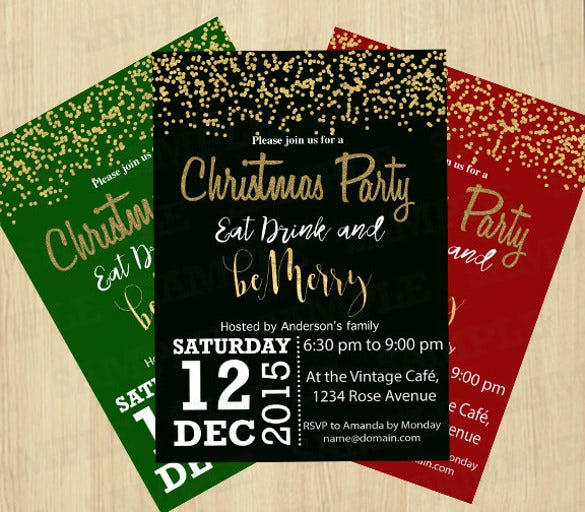 christmas party invitations eat drink and merry christmas