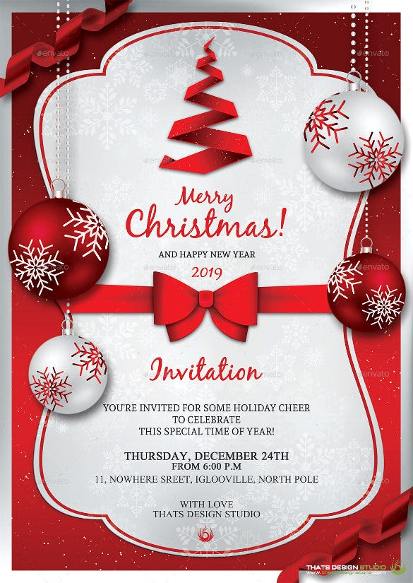rreedd christmas invitation template