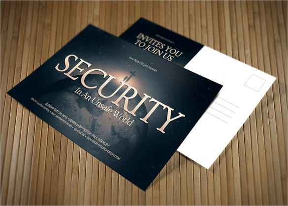 security church postcard template