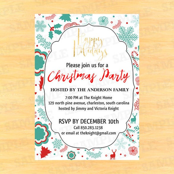30 christmas invitation templates free sample example for Free christmas invitation templates
