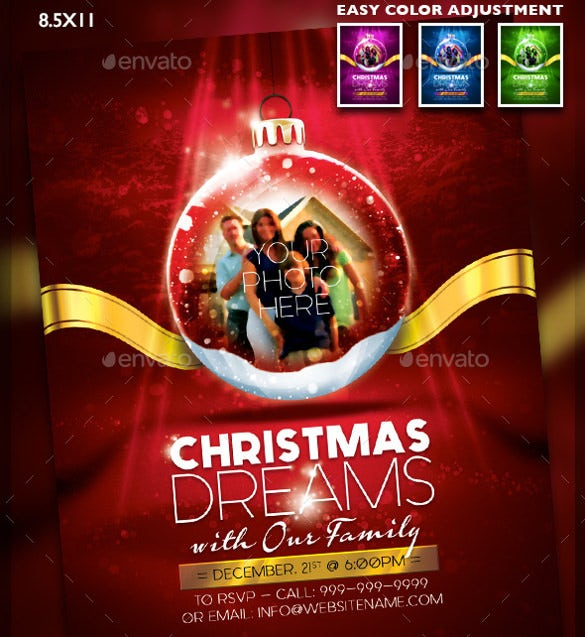 red christmas snow globe flyer template