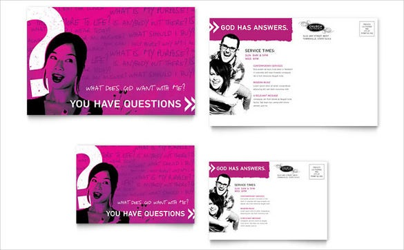 pink church outreach ministries postcard template