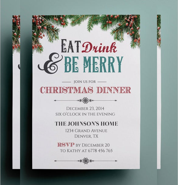 Christmas Dinner Invitation Template, Custom Christmas Invitation Template To Free Christmas Party Templates Invitations