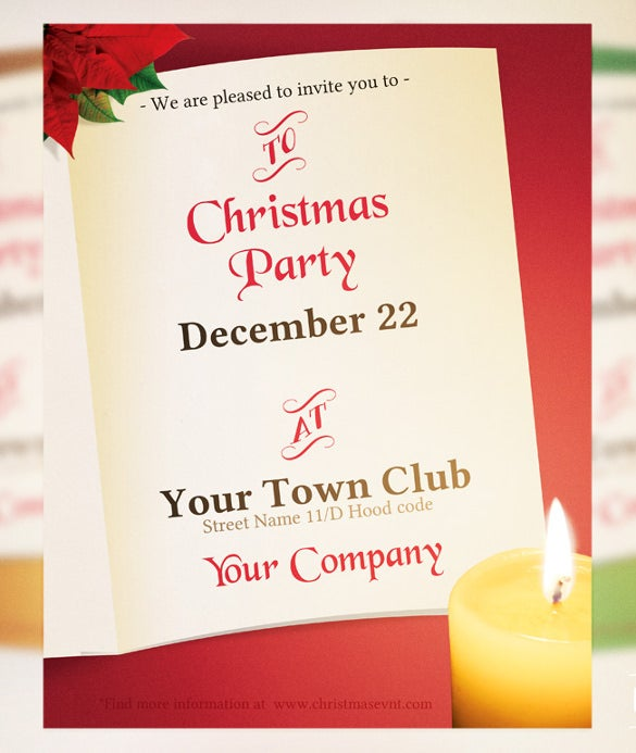 Christmas Invitation Flyer Template Card  Christmas Dinner Invitations Templates Free