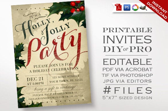 Christmas Invitation Template Vintage Holly Holiday Party