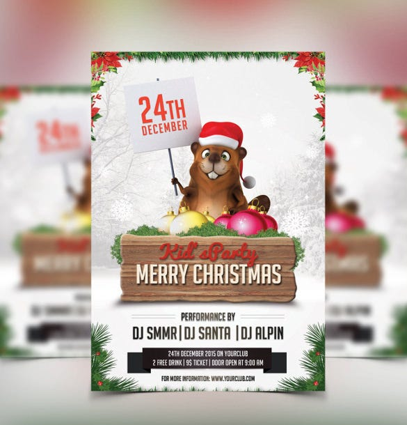 christmas party invitation template photoshop template