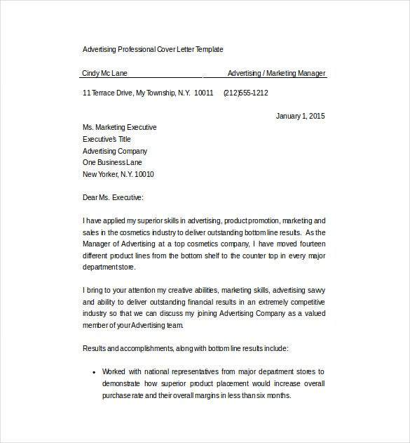 Advertising Sales Cover Letter Word Format Free Download  Marketing Letter Format