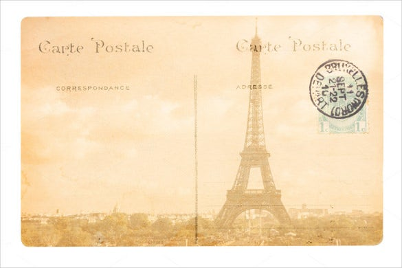 old paris postcard template