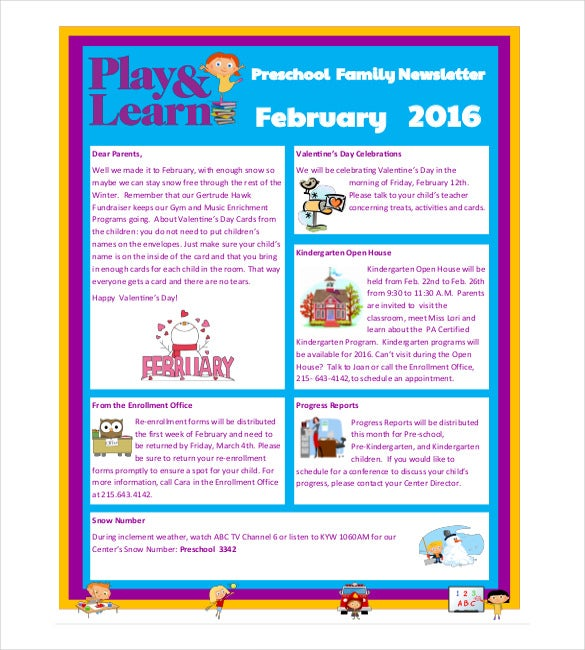 10 preschool newsletter templates free sample example for Free online newsletter templates pdf