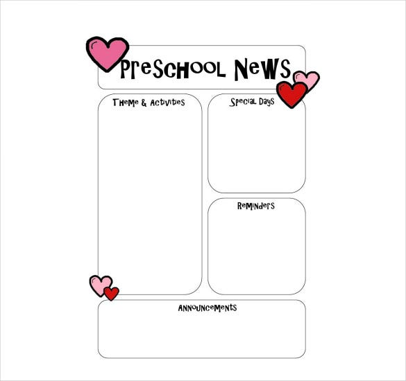 preschool newsletter template