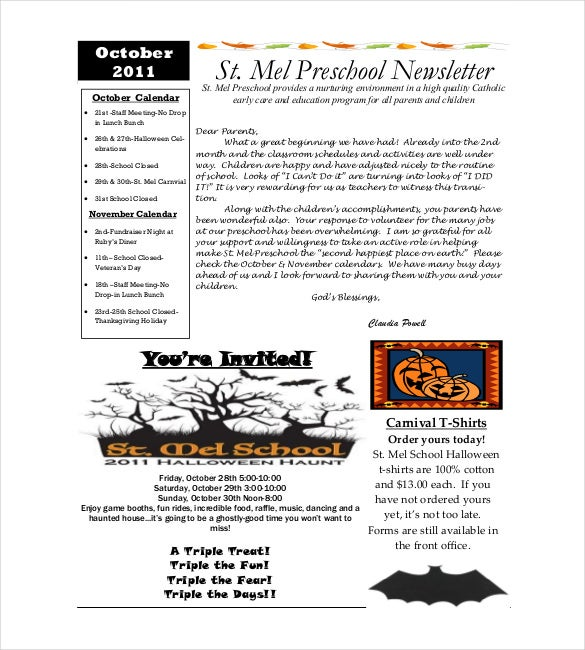 preschool newsletter templates free
