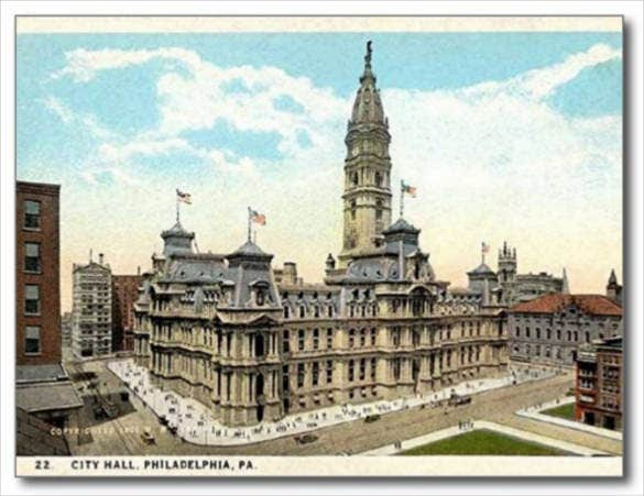 philadelphia city hall old postcard
