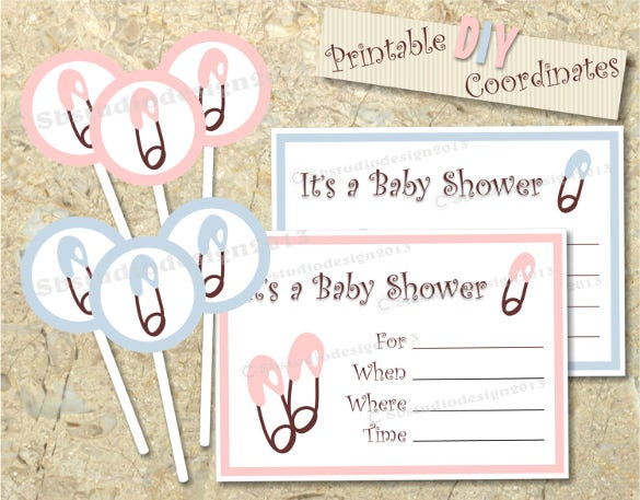 diaper pin baby shower cupcake topper and invitation