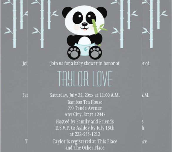 blue bamboo panda in diapers baby shower invitation card
