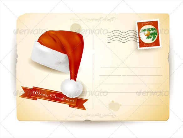 christmas postcard with santas hat