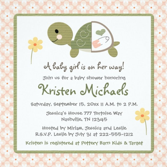 turtle in diaper baby shower invitations for girls
