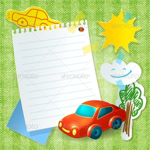 toy car blank postcard template in vector eps