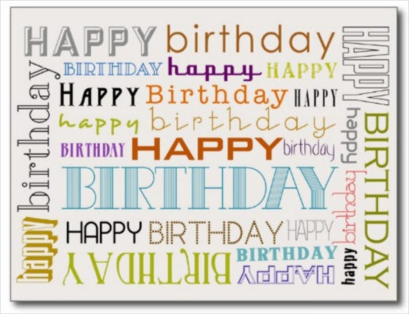 unisex happy birthday typography postcard