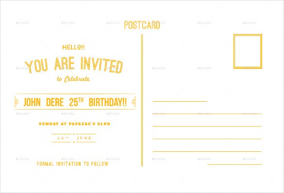 yellow birthday invitation postcard