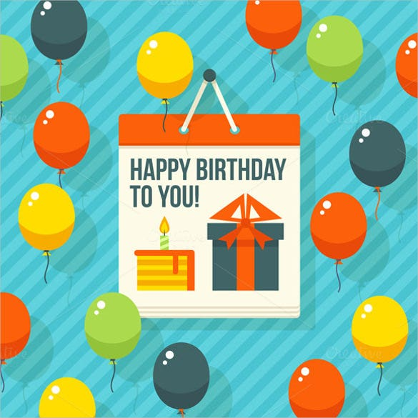 vector flat modern postcardy birthday postcard with balloons