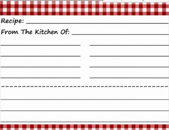 blank postcard in recipe style