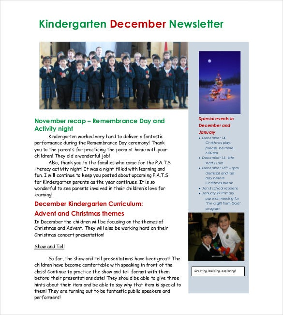 kindergarten christmas newsletter