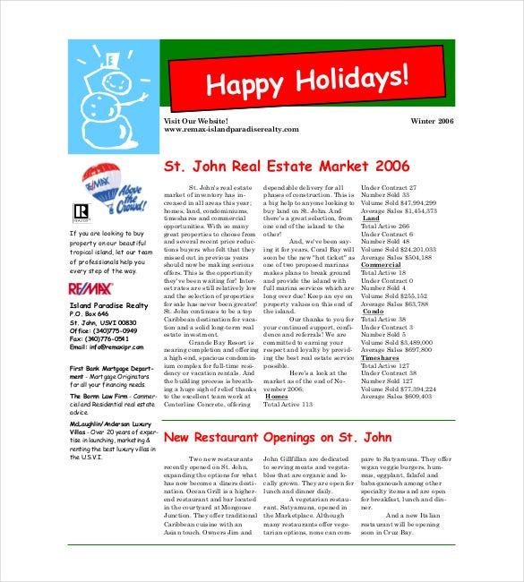 real estate christmas newsletter