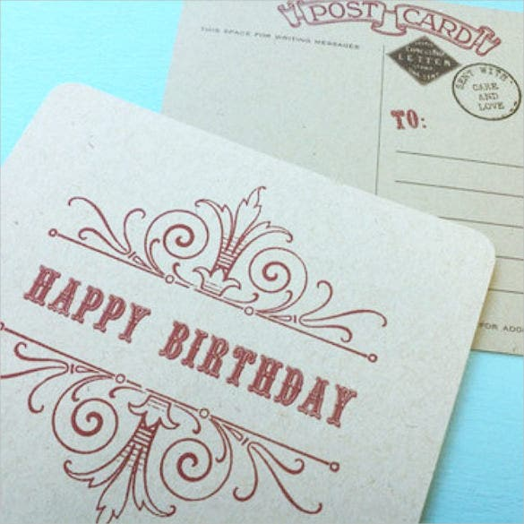 vintage style happy birthday postcards