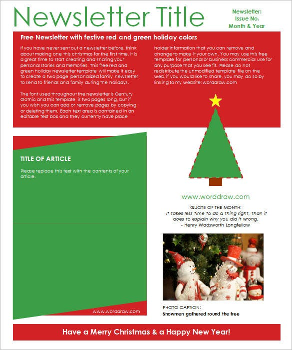 Christmas Newsletter Templates  Free Sample Example Format