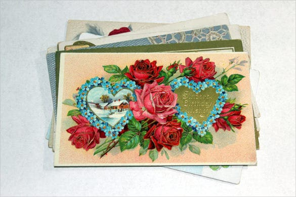 early 1900s roses birthday postcard