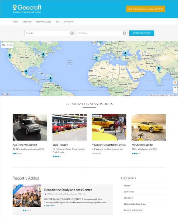 city business directory listing wordpress blog theme