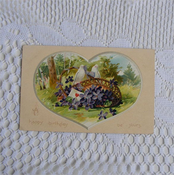 wicker basket of purple violets vintage happy birthday postcard