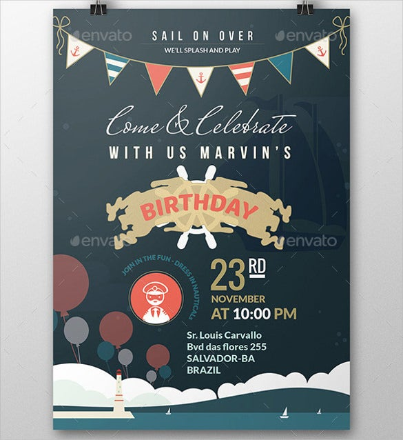 nautical birthday invitation postcard